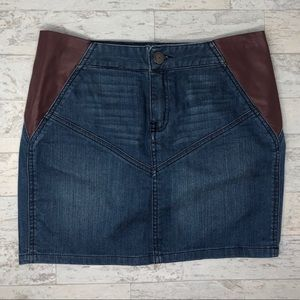 BCBG Maroon Leather Denim Mini Skirt Size 25